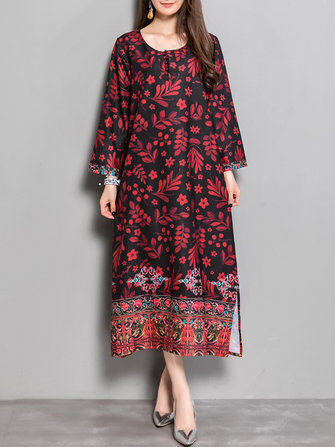 Vintage Women Floral Printed O-Neck Long Sleeve Side Slit Dresses