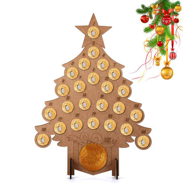 Wooden Christmas Advent Calendar Fit 24 Circular Chocolates Stand Rack Decorations