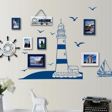 Stile mediterraneo autoadesivo della parete torretta estraibile barca a vela gabbiano foto a casa di arte della carta della decorazione della decalcomania