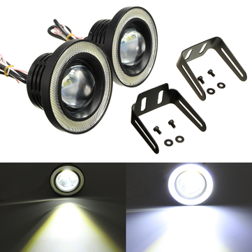 2Pcs 3.5 Inch LED Fog Light Projector Angel Eyes Super Lamp w/ COB Halo Rings
