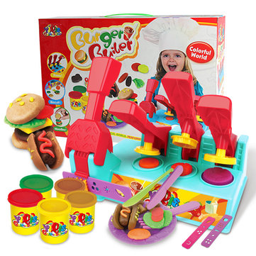 Burger Builder Colour Clay Dough Set Pottery Clay Children Toys