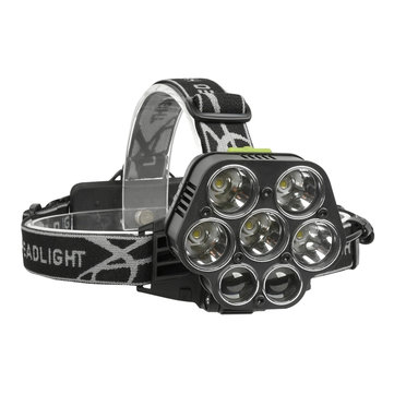 XANES 2507 1900LM 2×XPE+5×XML-T6 7LED 6 Modes USB Charging 4 Colors Light Headlamp 18650 Battery