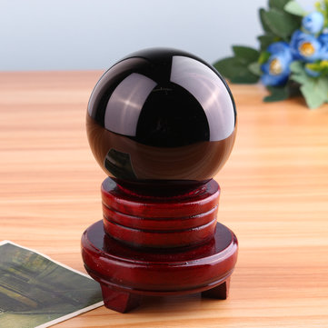 80mm Black Obsidian Quartz Crystal Sphere Ball Healing Gemstone With Stand Office Room Decorations