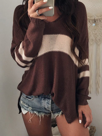 Women Deep V-Neck Striped Split Hem Long Sleeve Knit Sweaters