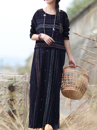 Women Vintage Long Sleeve Striped Tunic Floral Maxi Dress