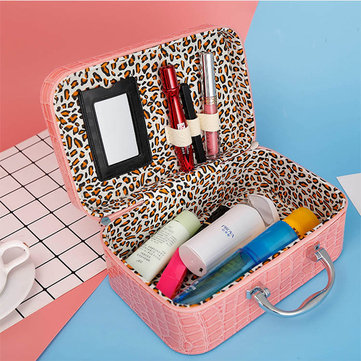 Women Stone Pattern Cosmetic Case Cosmetic Bag With Mirror
