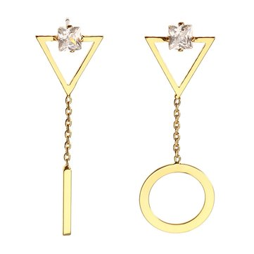 JASSY® Luxury Women Earrings 18K Gold Plated Fashion Asymmetric Geometric Gemstone Ear Stud Gift