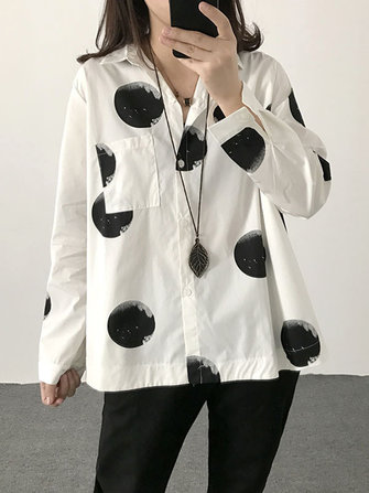 Casual Polka Dot Print Slip Down Collar Loose Shirt Blouse