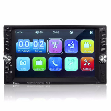 7651D 6.6 Inch 2 DIN Bluetooth In Dash Car Touch MP3 MP5 FM Radio USB/TF/AUX