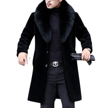 Men Faux Fur Coat Slim Fit Mid Long Winter Warm Black Casual Jacket Coats