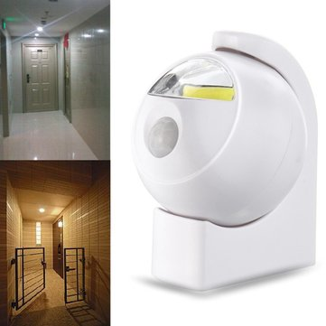 Wireless COB LED PIR Motion Sensor Battery Powered Night Light Wall Cabinet Lamp