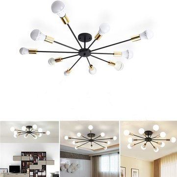 E27 10 Heads Vintage Industrial Edison Chandelier Metal Flush Mount LED Ceiling Lights AC 85-265V