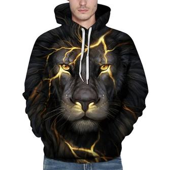 Fashion Personality Lion Sweatshirts Unisex Casual Digital Printing Baseball Uniform Hoodies