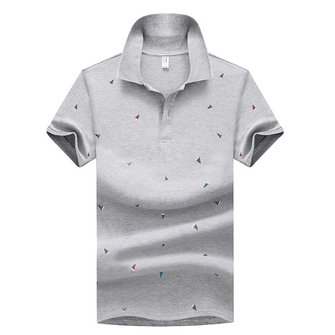 Summer Mens Short Sleeve Golf T-shirt Lapel Small Triangle