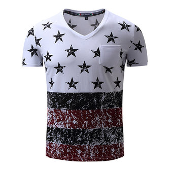 Summer Star Pattern Fashion T Shirts For Men Printing Cotton Short-sleeved T-shirt