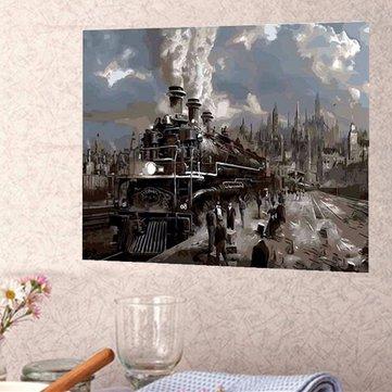 40X50CM Steam Train Painting DIY Self Handicraft Paint Kit Wood Framed Home Decoration