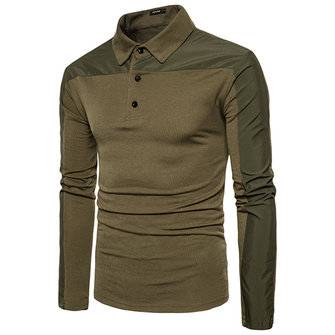 Fashion Splicing Slim Casual Lapel Long-sleeved POLO Shirt