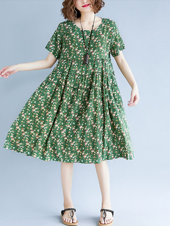 Vintage Short Sleeve Elastic Waist Floral Dress