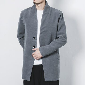 Mens Vintage Chinese Style Solid Color Casual Woolen Coat Jacket