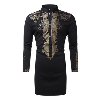 Mens Mid-long African Stand Collar Fashion Printing Long Sle