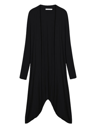 Asymmetrical Solid Color Long Cardigan For Women