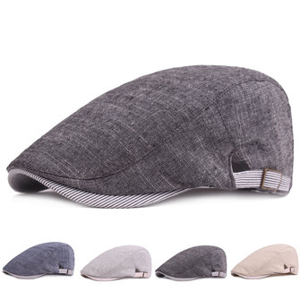 Men Cotton Beret Hat Buckle Adjustable Paper Boy Newsboy Cabbie Golf Gentleman Cap