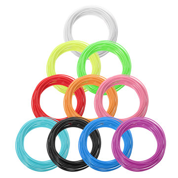 10 Colors/Pack 5/10m Per Color Length 1.75mm PCL Filament for 3D Printing Pen 0.4mm Nozzle