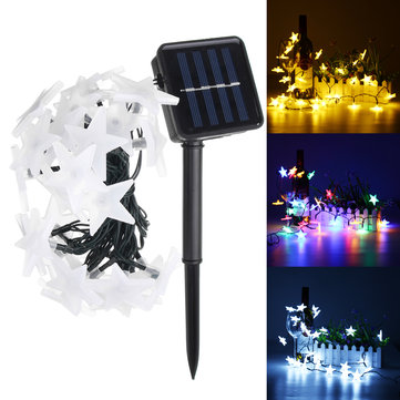 Solar Powered 5M 30LEDs Frosted Five Stars Fairy String Light Christmas Wedding Decor Lamp