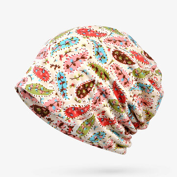 Women Cotton Floral Multi-purpose Double Layers Beanie Hat