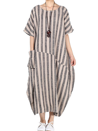 M-5XL Women Stripe Crew Neck Short Sleeve Loose Baggy Dress