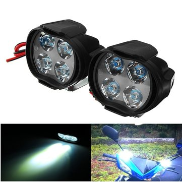 Pair 9-85V 1000lm 8W Motor Bike Headlamp Bicycle Scooter ATV Spotlight Black IP65