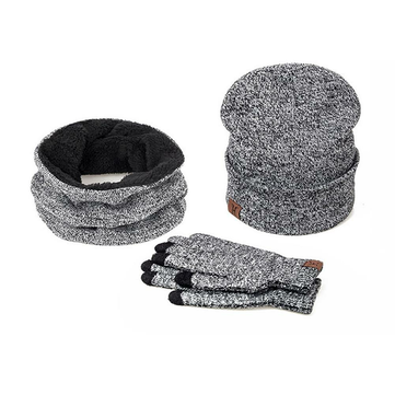 3 Pieces Set Winter Ski Warm And Gloves Cotton Unisex Hat Scarf Gloves Solid For Men Women