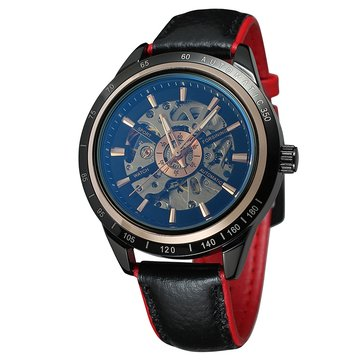 FORSINING A2 Geniue Leather Strap Men Sport Fashion Self-winding Mechanical Watch