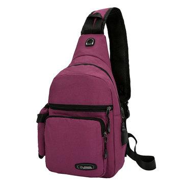 Women Men Multifunctional USB Outdoor Sports Bag Chest Bag