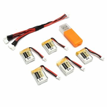 5PCS Eachine E010 E010C 3.7V 150MAH 45C Upgrade Battery USB Charger Set RC Quadcopter Spare Parts