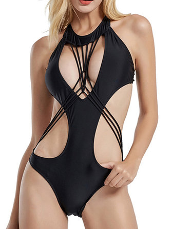 Sexy Hollow Out Bandage Backless One Piece Swimsuit