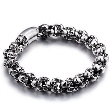 Casting Stainless Steel Skeleton Skull Chain Bracelet Men Silver Jewelry Gift