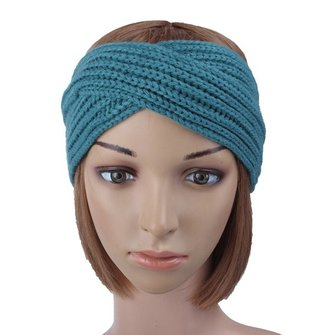 Women Ladies Wool Knitting Headbrand Cross Twist Warm Handmade Hair Band