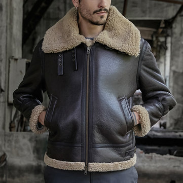 Mens Large Lapel Thick Warm Faux Leather Shearling Coat
