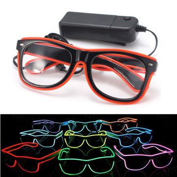El Wire Neon LED Light Shutter Shaped Glasses For Rave Costume Party
