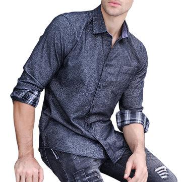 Mens Spring Fashion Cotton Turn Down Collar Fit Casual Shirt