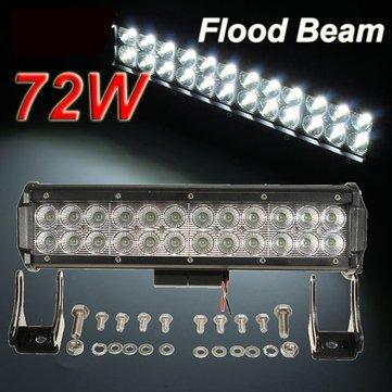 12-24V 72W 6000k 24LED Work Flood Light Bar For Off Road SUV ATV UTE Truck