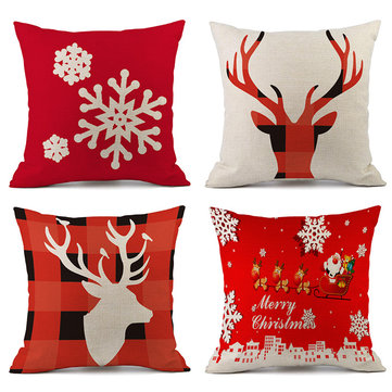 New Christmas Decorations For Home Reindeer Pillow Cover Case Merry Christmas Square Linen Pillowcase