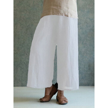 Celmia M-4XL Women Solid Cotton Linen Pant