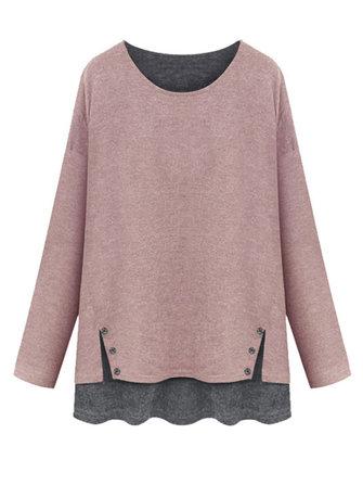 Mujeres fáciles faux blusa de dos piezas de manga larga de punto patchwork