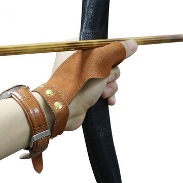 Suede Archery Protective Glove Finger Guard For Traditional Bow Recurve Bow Outdoor Shooting Hunting