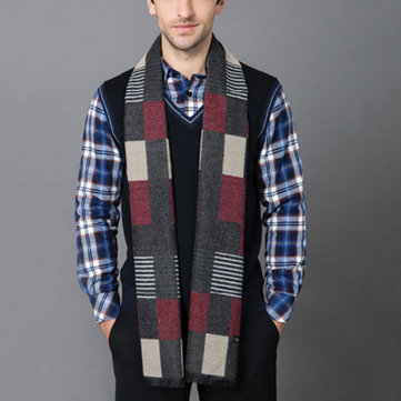 Mens Winter Cashmere Scarf Formal Soft Plaid Stripe Scarves for Men