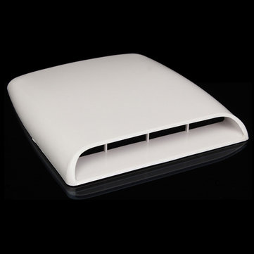 Car Decorative Airflow Intake Hood Scoop Vent Bonnet Cover White Universal