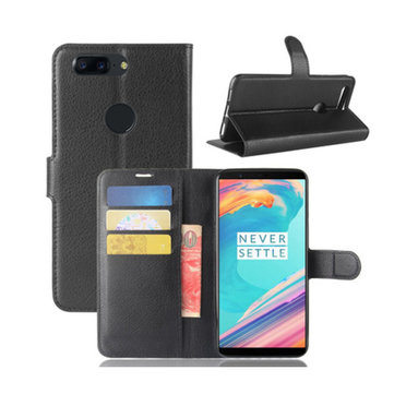 Flip Litchi Pattern PU Leather Wallet Card Slot Stand Cover Case For ONEPLUS 5T