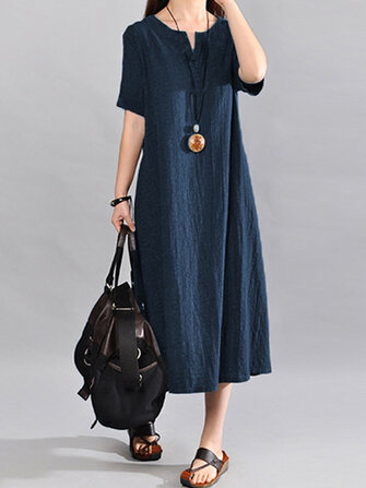 Women Vintage V Neck Short Sleeve Cotton Linen Maxi Dress